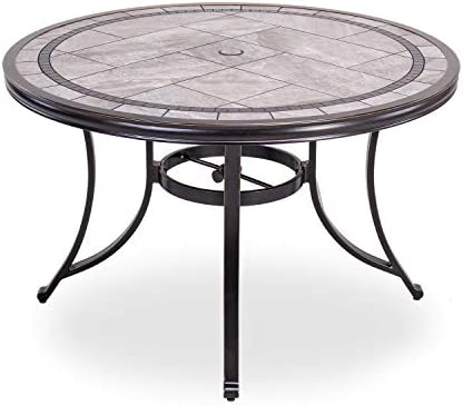 dali Single Sale Outdoor Dining Table Contemporary Round a Tile-Top Design with Heavy-Duty Frames 46