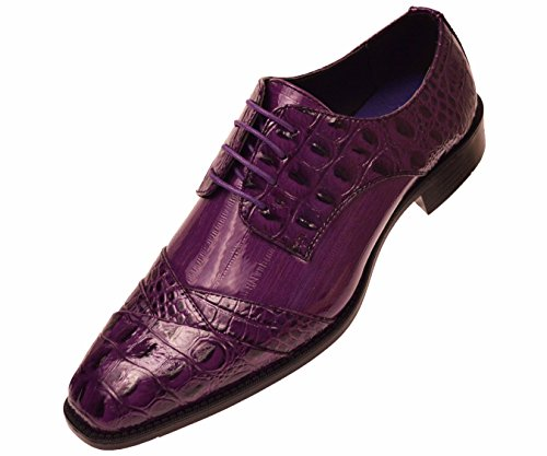 Bolano Mens Exotic Faux Crocodile and EEL Print Folded Cap Toe Oxford Dress Shoes, Style - Designer Shoes Purple