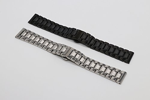 22mm Universal Curved End Metal Watch Band Solid 304 Stainless Steel Adjustable Silver SS Watch Strap by autulet (Image #5)