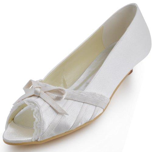 ElegantPark EL10009 Mujer Mini Tac¨®n Fiesta Zapatillas Cu?as Borde Arcos Sat¨¦n Zapatos De Boda Beige - Ivoire