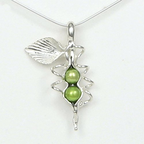 2 Pearl How Many Peas in Your Pod Sterling Silver Necklace Each Unique Handmade - Gift Boxed - Green Pearl 20