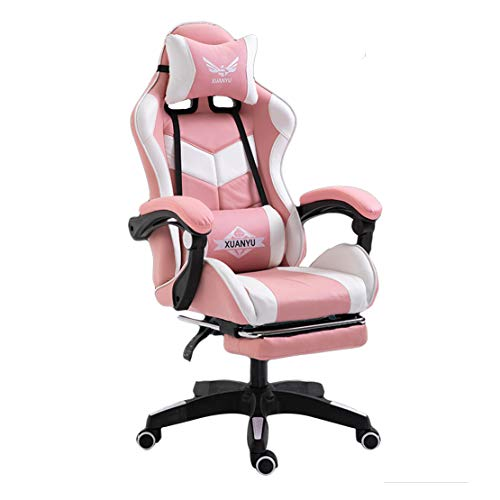 HIOD Silla de Gamer Silla de Computadora Silla Giratoria Movil Reclinable Cuello Cintura Pie Apoyo Ajustable Enlace Brazo,White-Pink