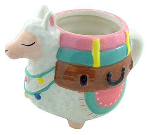 Myxx Ceramic Pastel Llama with Suitcases Shaped Coffee Mug, 22 Ounce