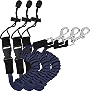Kayak Paddle Leash Facaily 3 Pack Safety Stretchable Kayak Fishing Rod Leash Cord Hook for Kayaking Securing C