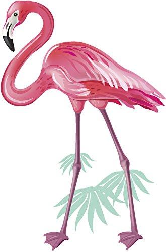 Beautiful Pink Flamingo with Leaf Art Vinyl Sticker (12