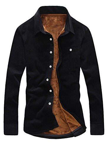 (Lavnis Men's Button Down Shirt Casual Corduroy Long Sleeve Thicken Shirts L )