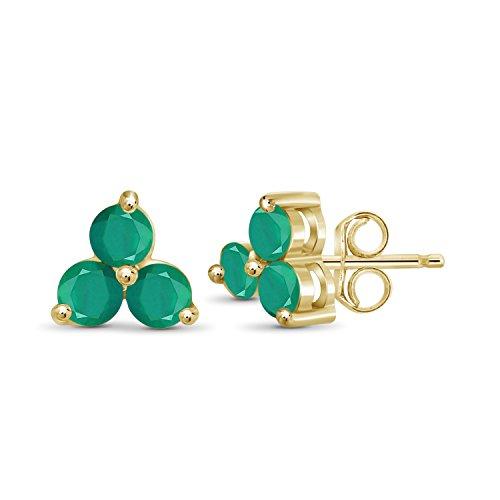 (0.70ctw Genuine Emerald Gemstone 14k Gold Over Silver Stud Earrings)