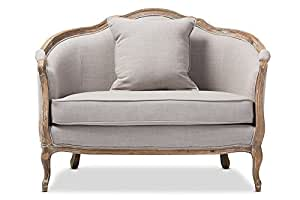 French Country Wood Trimmed Settee Loveseat in Beige Fabric