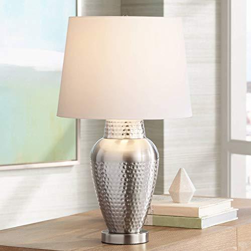 Rupert Modern Table Lamp Hammered Brushed Steel Metal Vase White Linen Shade for Living Room Family Bedroom Nightstand - 360 Lighting
