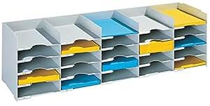 Paperflow 683950 - Cajonera clasificadora (25 cajones de poliestireno para documentos de formato A4, 500 hojas, 112 x 31,3 x 30,4 cm), color gris