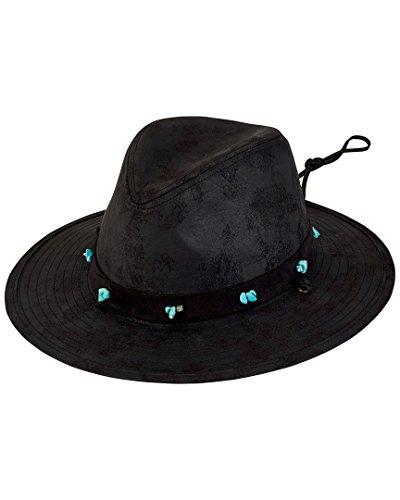 San Diego Hat Company Women's Distressed Turquoise Bead Trim Fedora Hat