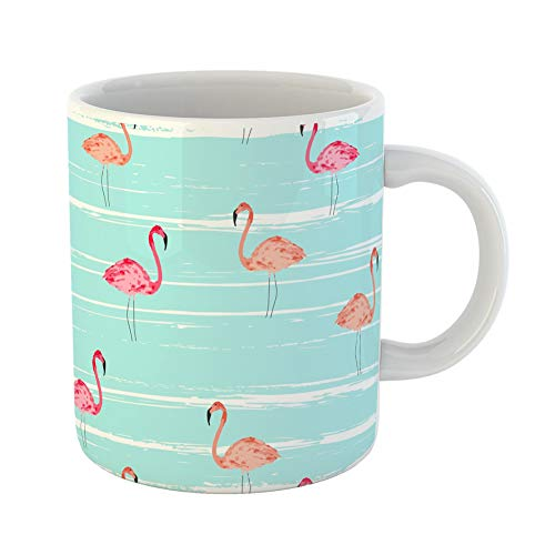 Emvency Coffee Tea Mug Gift 11 Ounces Funny Ceramic Pink Bird Flamingo Stripes Exotic Pattern Summer Gifts For Family Friends Coworkers Boss ()
