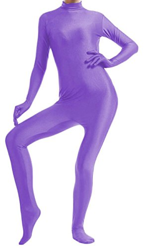 VSVO Lycra Spandex Bodysuit Dancewear (Kids Small, Purple) (Purple Morphsuit)