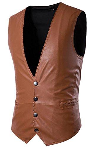 Oberora Mens Fashion Leather Vest Anarchy Motorcycle Biker Club Vest 1 XL Tan Leather Vest