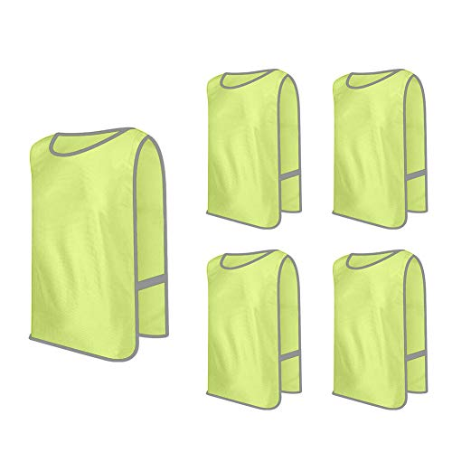 (GOGO Scrimmage Team Practice Vests Pinnies Jerseys Bibs, 5 Pack Safety Vests with Hook & Loop Waistband-Yellow-CHILD)