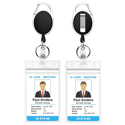 2 Pack Heavy Duty Retractable Badge Holders with Carabiner Reel Clip and Vertical Style Clear ID Card Holders, 24 inches Thick Kevlar Pull Cord