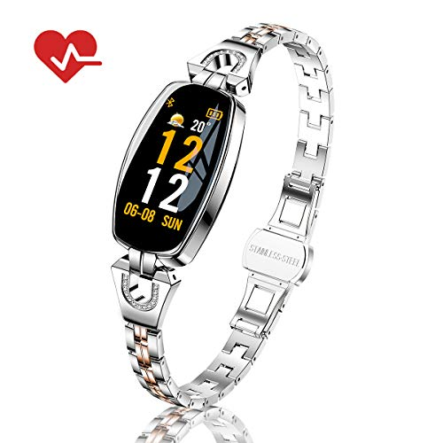 TOP-MAX Fitness Tracker Watch Waterproof for Women with Bloo
