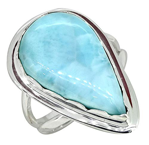 YoTreasure Pear Shape Larimar Ring Solid 925 Sterling Silver