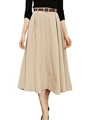 MFrannie Women Suede Flared Swing Button Down A Line Skirt With Belt