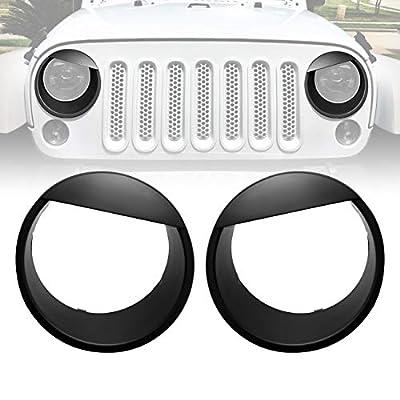 ICARS Black Angry Bird Front Headlight Trim Cover Bezels Pair Jeep Wrangler Rubicon Sahara Sport JK JKU Unlimited Accessories 2 Door 4 Door 2007-2020: Automotive