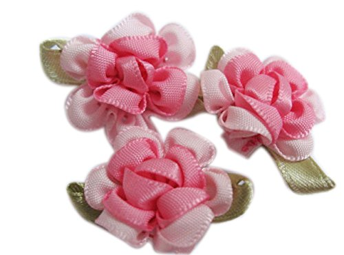 YYCRAFT Pack Of 40 Fancy 2 tone Satin Ribbon Flower Appliques-Pink