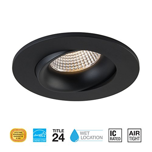3.5 Inch LED Pot Light by Liteline – Round Gimbal Fixture for Wet Locations – Ultra-Elegant & Subtle Design – Dimmable & Directional Lighting – Selectable CCT – Residential & Commercial (3000K, Black)