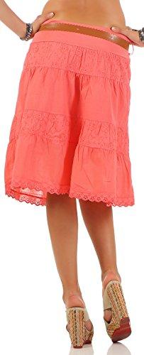 malito falda con cinturón verano tramo bordado A-línea 16169 Mujer Talla Única Coral