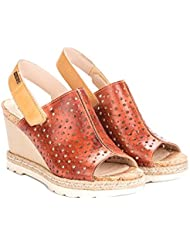 Pikolinos Womens Camel Leather Open Toe Casual Slingback Sandals