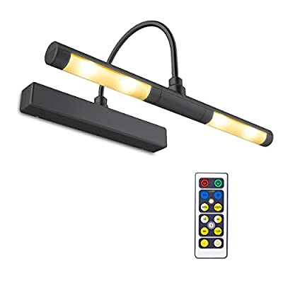 BIGLIGHT Wireless Battery Operated Bright LED Picture Light with Remote, Rotatable Light Heads of 3 Lighting Modes, Dimmable Display Lamp with Timer for Painting/Picture Frame/Mirror/Artwork, Black