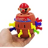 Efbock Kids Children Funny Lucky Stab Pop Up Toy Gadget Pirate Barrel Game Toy Popping-up Pirate Doll Toy Barrel Piggy Bank