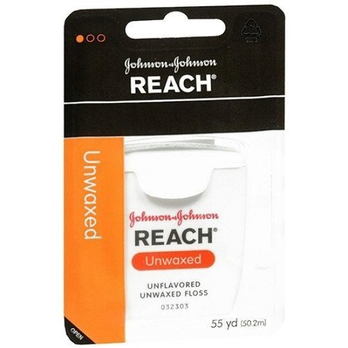 Floss Unflavored Unwaxed Reach Dental - Johnson and Johnson Reach Dental Floss, Unwaxed - 50Yards (Pack 2)