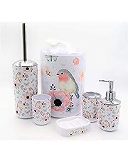 ملحقات حمام صحية بيضاء، 6 قطع (مرسوم عليها عصفور وزهور)