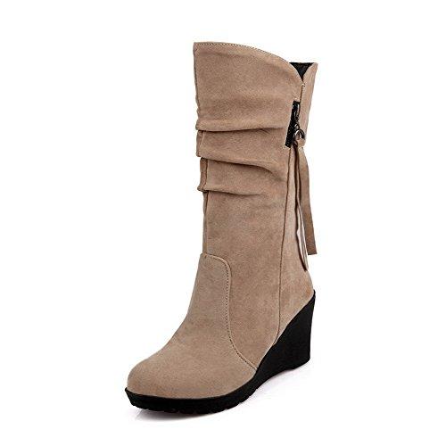 AgooLar Damen PU Mittler Absatz Rund Zehe Stiefel, Aprikosen Farbe, 41