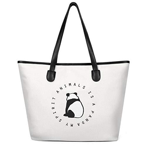 Sdesd Adsd My Spirit Animals is A Panda Women's Handbags Canvas Shoulder -