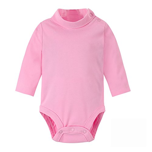 - DANROL Baby Long Sleeve Solid Turtleneck Bodysuits Pink 18 Months