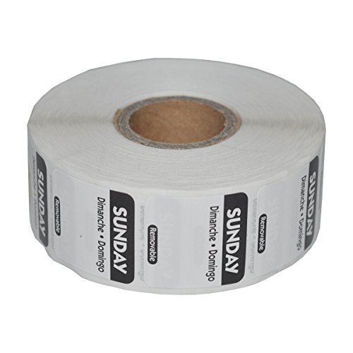 Day of The Week Trilingual Rotation Label 1 x 1 Inch Removable Label (Roll of 1000) (Sunday)