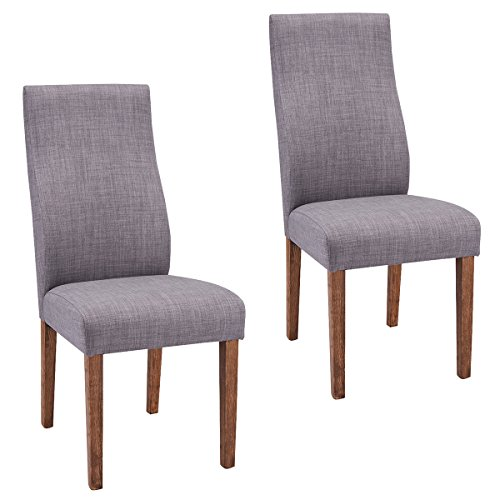 Giantex Set Of 2 Dining Chairs Fabric Upholstered High Back Armless Home Furniture (Grey) (High Back Upholstered Chair)