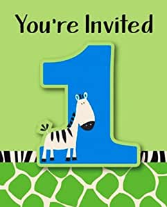 Creative Converting Wild at One Zebra Party Invitations, 8-Count