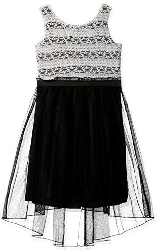 Speechless Big Girls' Lace Stripe/Chiffon Dress, White/Black, (Black And White Chiffon)