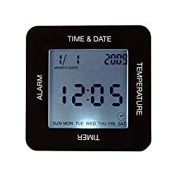 Alarm Clock - Black Digital Rotating Alarm Clock With Timer Time Calendar Temperature Led Display Table Home Decor - Time Sony Dock The Nightlight Wind Quartz White Jbl Gradual