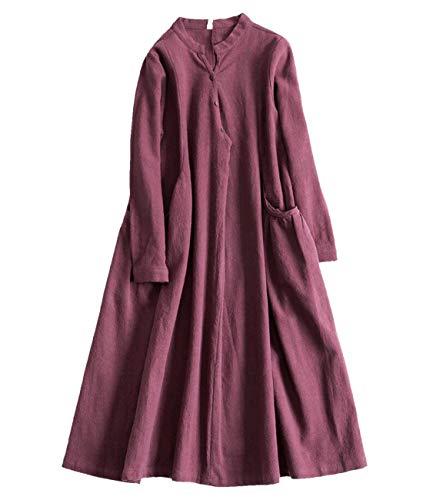 YESNO X06 Women Long Maxi Caftan Dress 100% Linen Casual Elegant Turn-Down Collar Long Sleeve Large Skirt Unique Big Pocket