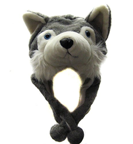 JOYHY Unisex Winter Plush Ear Flap Animal Hats Grey Wolf