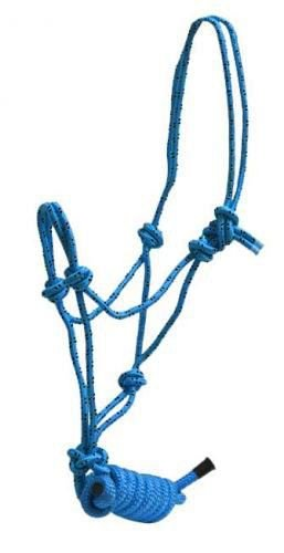 Lead Cowboy (Showman PONY Size Nylon Cowboy Knot Rope Halter with Removable 7.5' Lead Rope (Electric Blue))