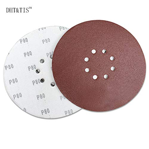 Maslin DHT&TIS 100 pieces 9''/225mm Hook & Loop Abrasive Sanding Disc Wall Wood Grinding P60 P80 P180 P240 - (Grit: 60)