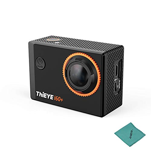 ThiEYE i60+ 4K 30fps WiFi Action Sports Camera 170° Wide Angle Lens 2.0inch TFT LCD Screen 4X Zoom 60m Waterproof Support Time-Lapse Slow Motion with Lithium Battery with Andoer Cleaning Cloth