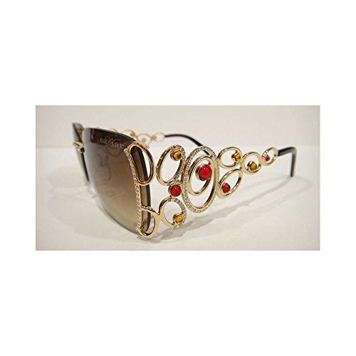 Caviar 6849 Sunglasses Gold (C21) Crystal Stones Authentic - Caviar Sunglasses