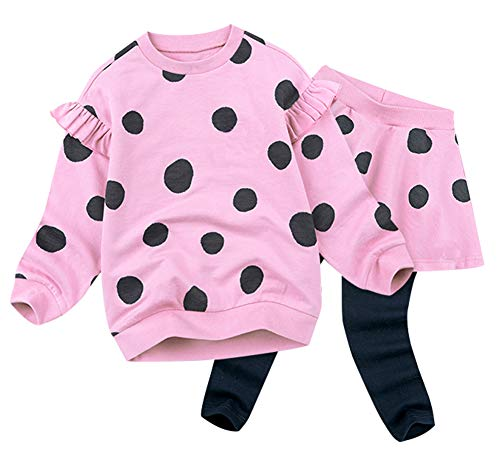 BomDeals Adorable Cute Toddler Baby Girls Clothes Set,Long Sleeve T-Shirt +Pants Outfit (Age(5T), Dot/Pink)