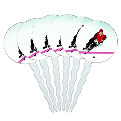 Set of 6 Cupcake Picks Toppers Decoration Sports and Hobbies