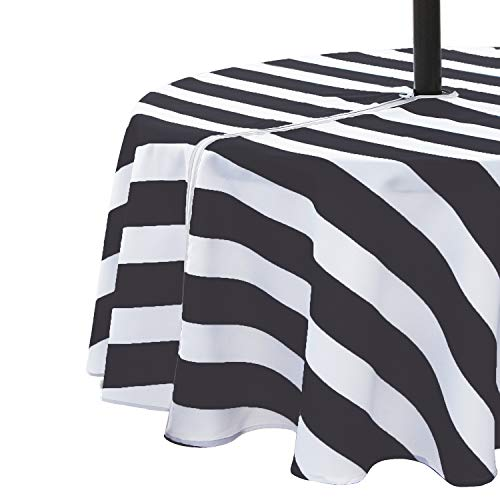 VCVCOO 60 Inch Round Outdoor Tablecloth Waterproof Anti-Stain, Polyester Table Cover with Zipper Umbrella Hole for Restaurant,Black and White Striped Table Cloth Machine Washable