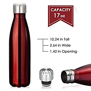 KING DO WAY 17oz Double Wall Vacuum Insulated Stainless Steel Water Bottle Perfect for Outdoor Sports Camping Hiking Cycling Picnic (Red)